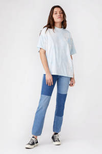 Wrangler tie-dye T-shirt van biologisch katoen lichtblauw/wit, Lichtblauw/wit