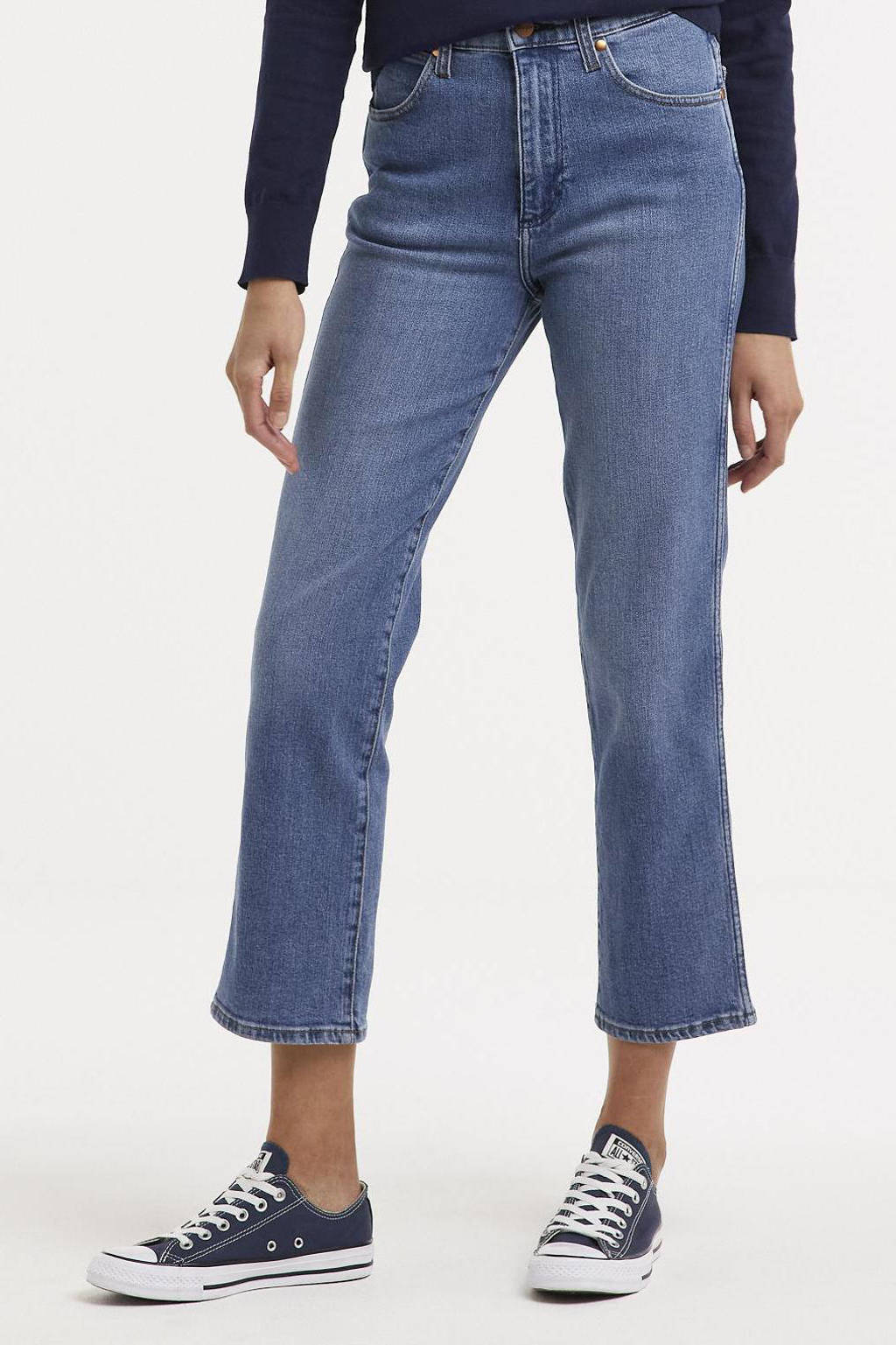 Wrangler high waist straight fit jeans Wild west mid blue, Mid blue