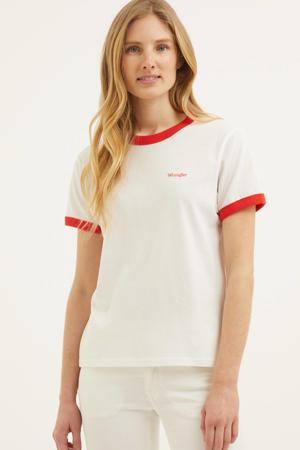 T-shirt van biologisch katoen wit/rood