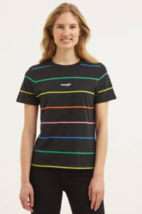 Wrangler gestreept T-shirt van biologisch katoen zwart/multi, Zwart/multi