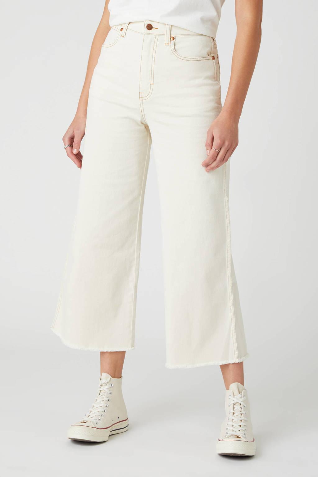 Wrangler cropped high waist flared jeans ecru, Ecru