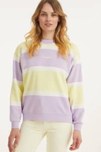 Wrangler gestreepte sweater lila/geel, Lila/geel