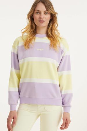gestreepte sweater lila/geel