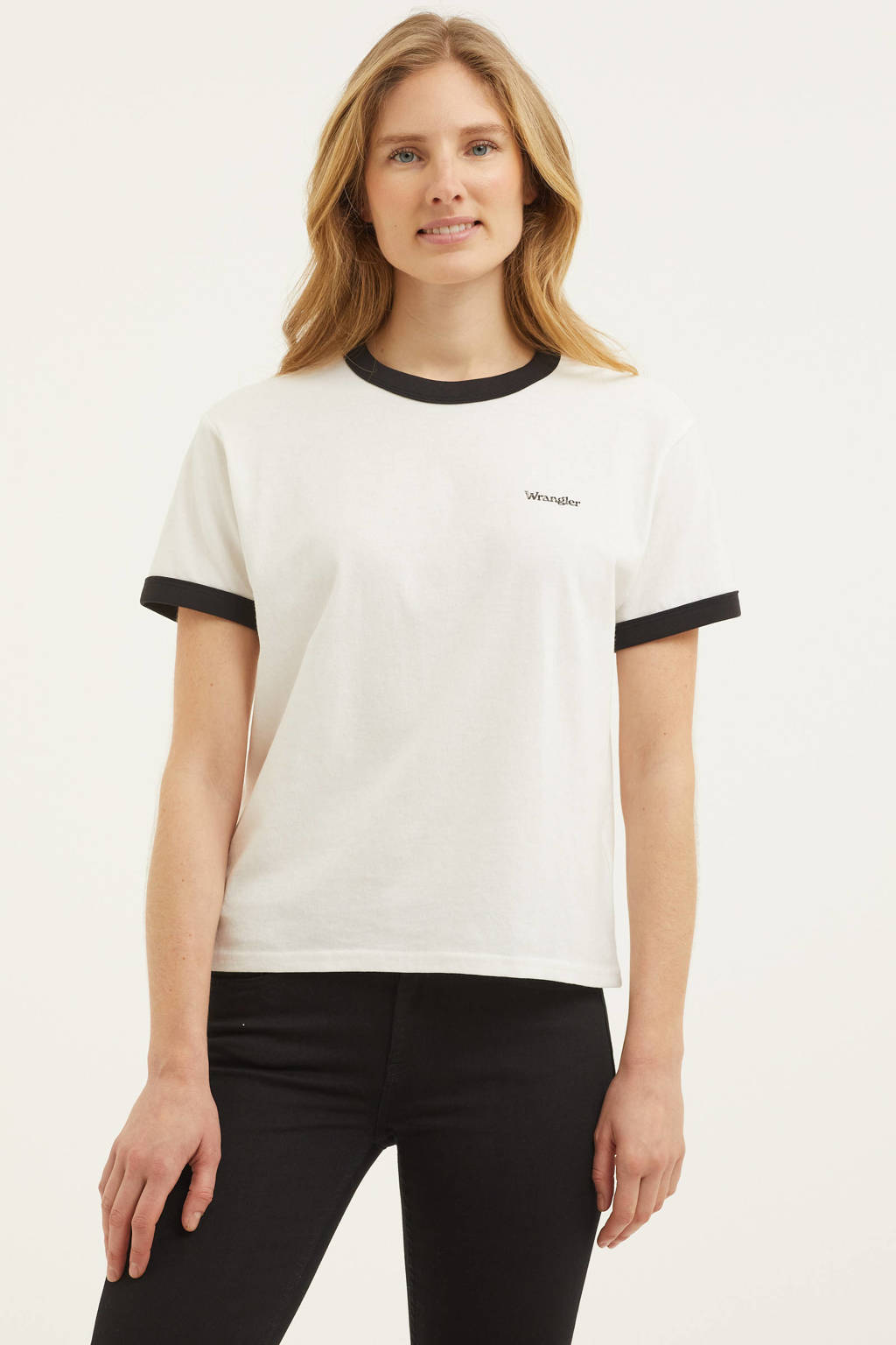 Wrangler T-shirt van biologisch katoen wit/zwart, Wit/zwart