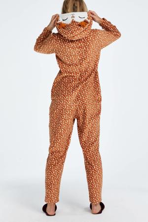 fleece onesie met capuchon en all over print lichtbruin