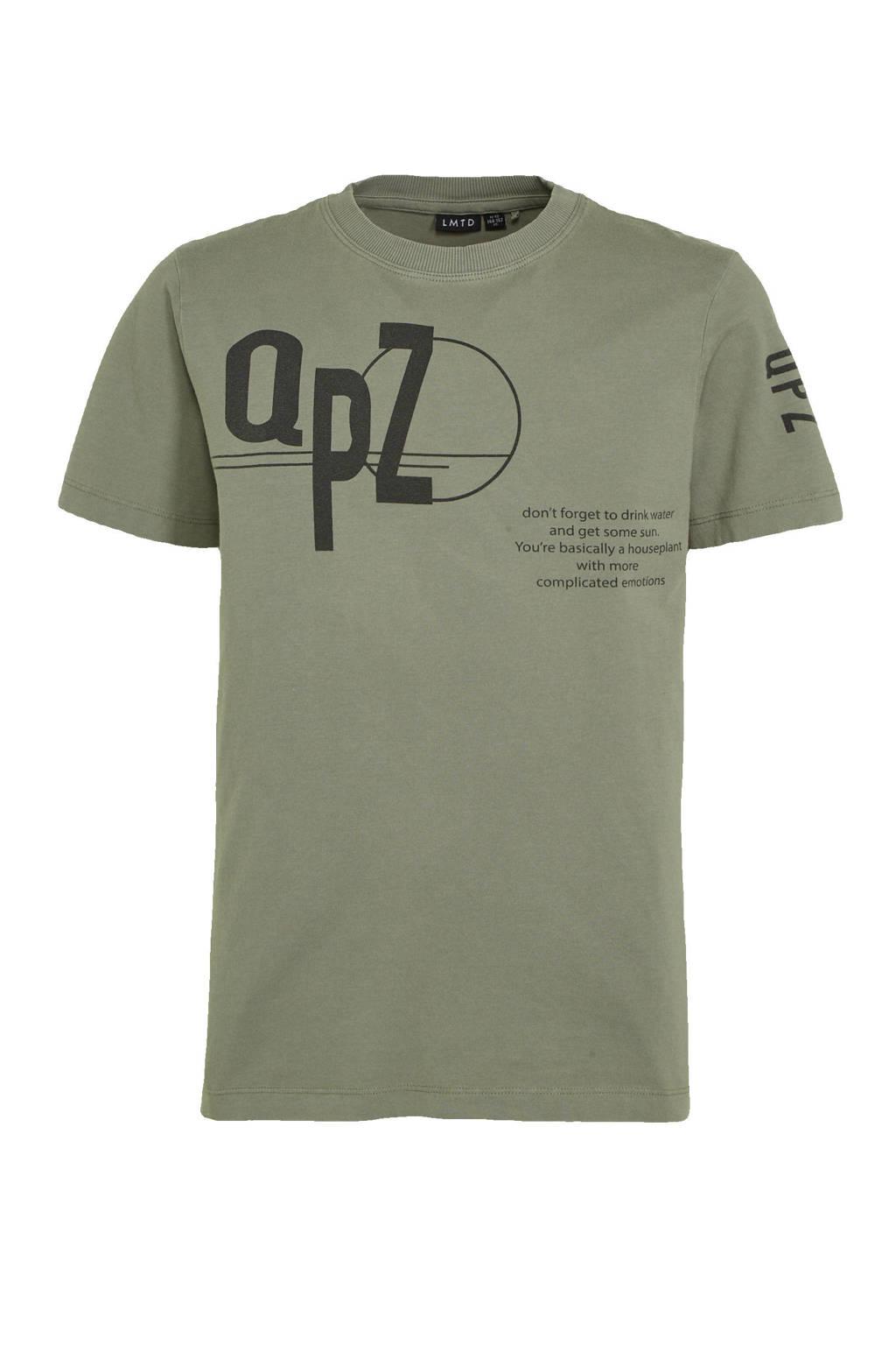 LMTD T-shirt van biologisch katoen antraciet/groen, Antraciet/groen