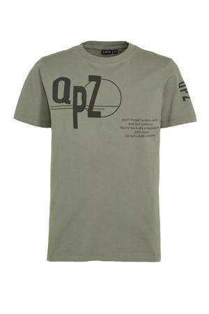 T-shirt van biologisch katoen antraciet/groen