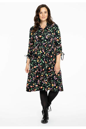 gebloemde blousejurk Fleur zwart/groen/paars
