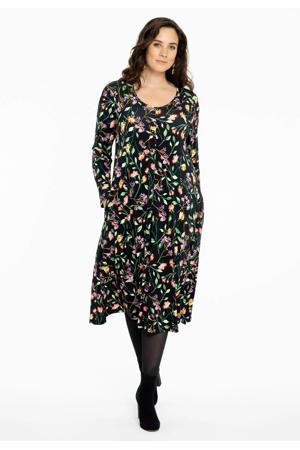 gebloemde jurk Fleur zwart/groen/rood