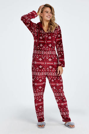 fleece onesie met capuchon en all over print donkerrood