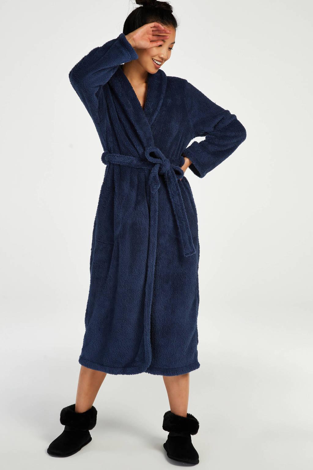 Hunkemöller fleece badjas blauw, Blauw