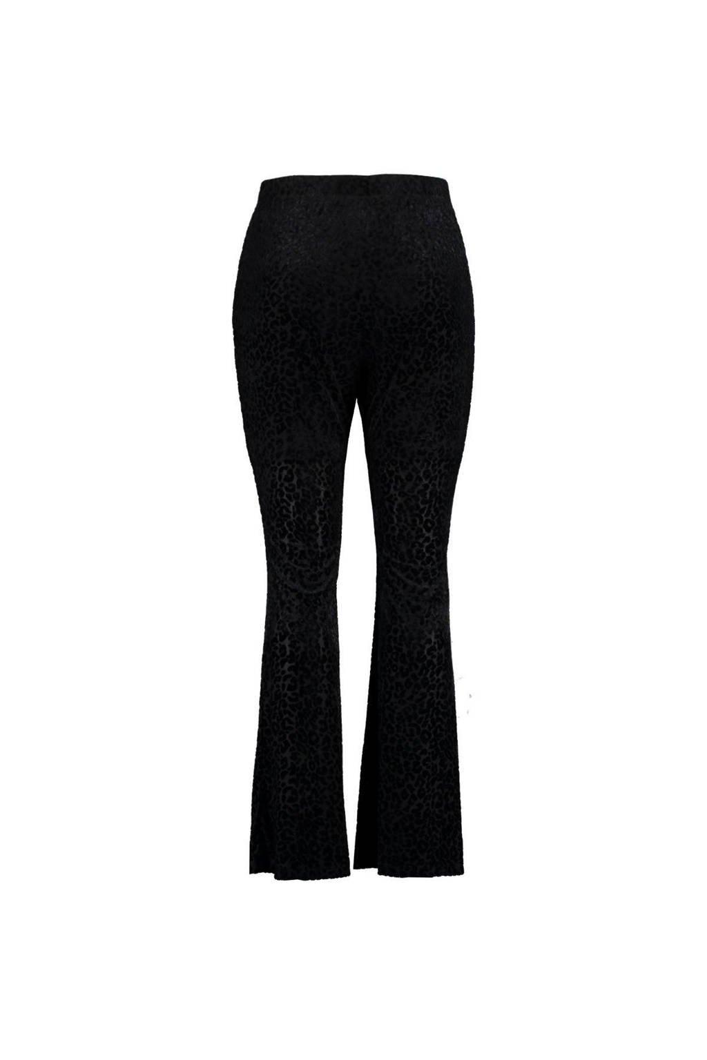 MS Mode high waist flared broek met panterprint zwart, Zwart
