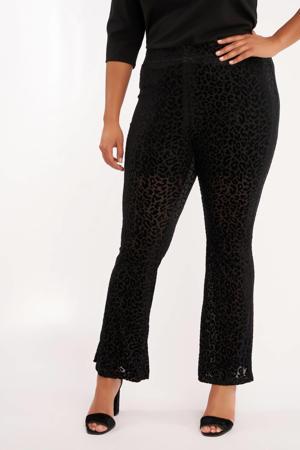 high waist flared broek met panterprint zwart