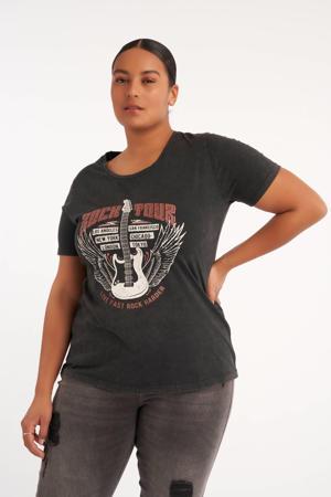 T-shirt met printopdruk antraciet bleached/wit/donkerrood
