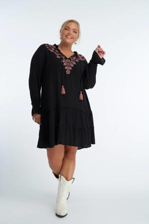 jurk met borduursels zwart/roze