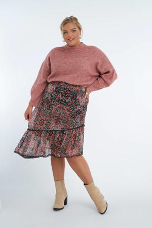 semi-transparante rok met all over print en franjes rood/petrol/lichtroze