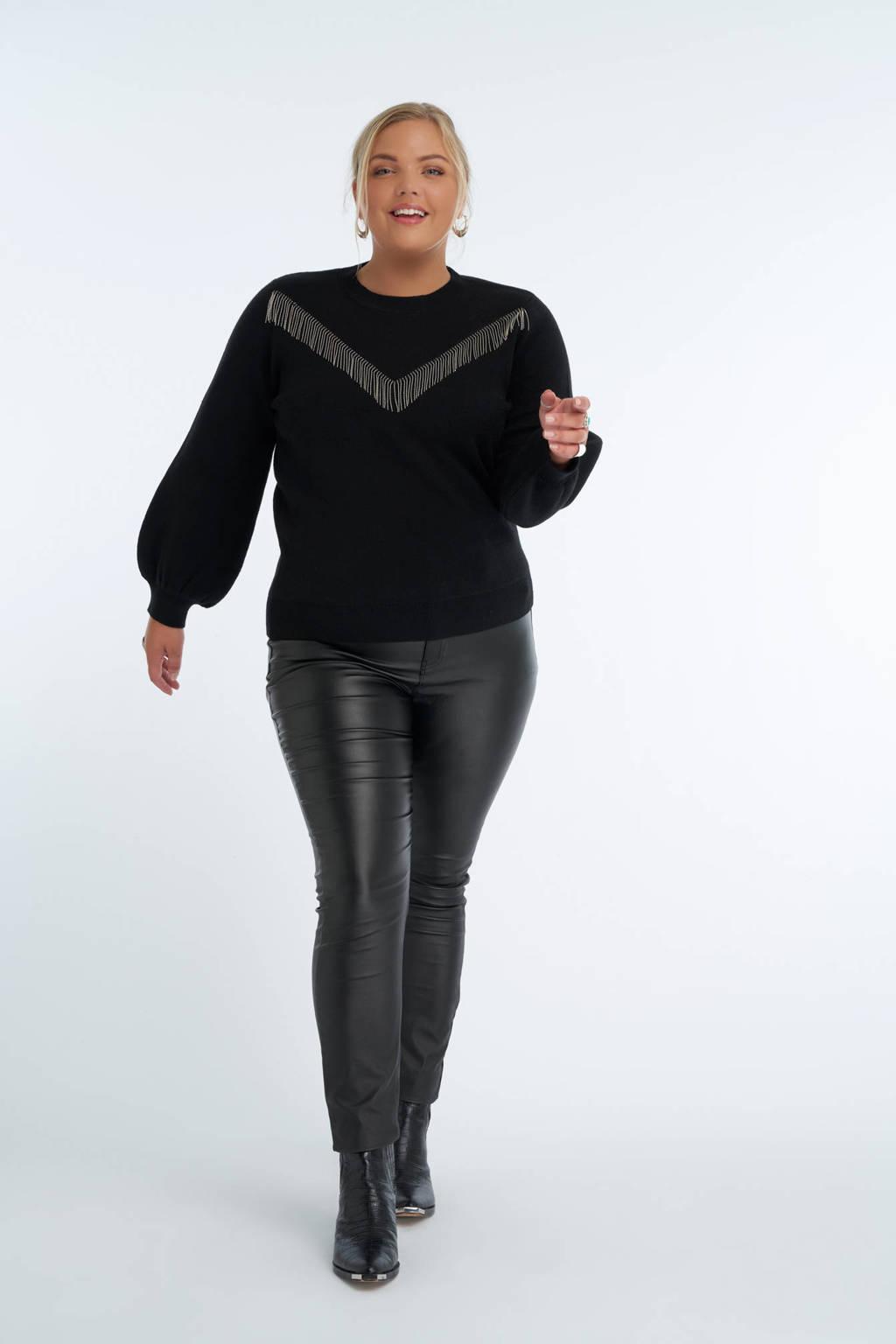 MS Mode sweater met franjes zwart/zilver, Zwart/zilver
