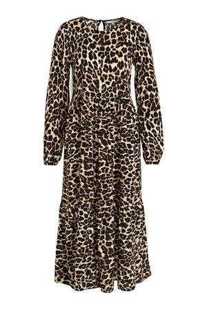 jurk met panterprint en open detail beige/bruin/zwart