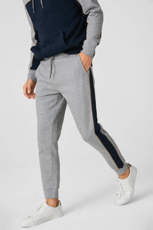slim fit joggingbroek met zijstreep grijs