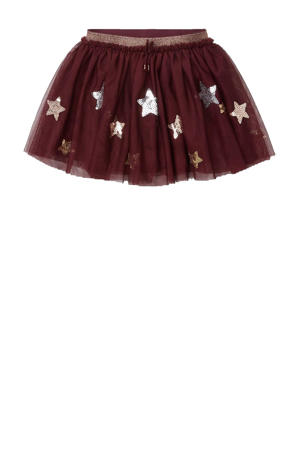 rok met all over print en pailletten donkerrood