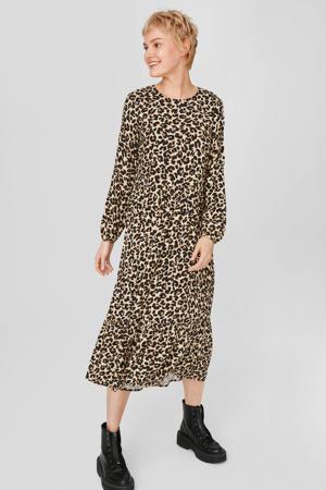 maxi jurk met panterprint en open detail beige/bruin/zwart