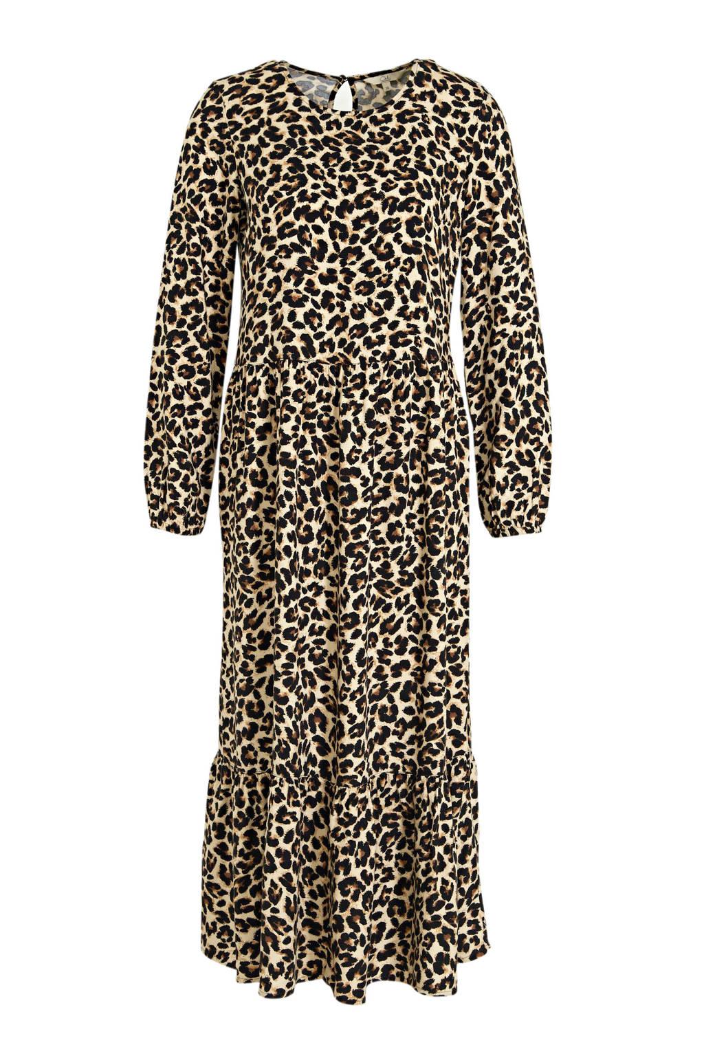 C&A Clockhouse maxi jurk met panterprint en open detail beige/bruin/zwart, Beige/bruin/zwart