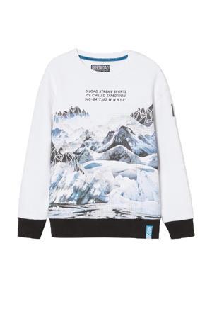 sweater met printopdruk wit/blauw/zwart