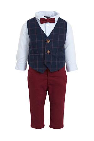 baby overhemd + broek + gilet + strik