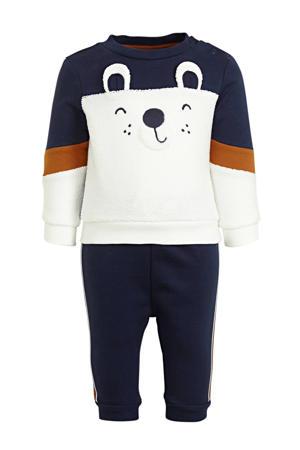 baby sweater + joggingbroek donkerblauw/offwhite