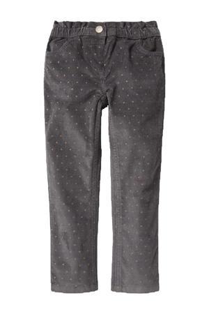 skinny broek met all over print grijs
