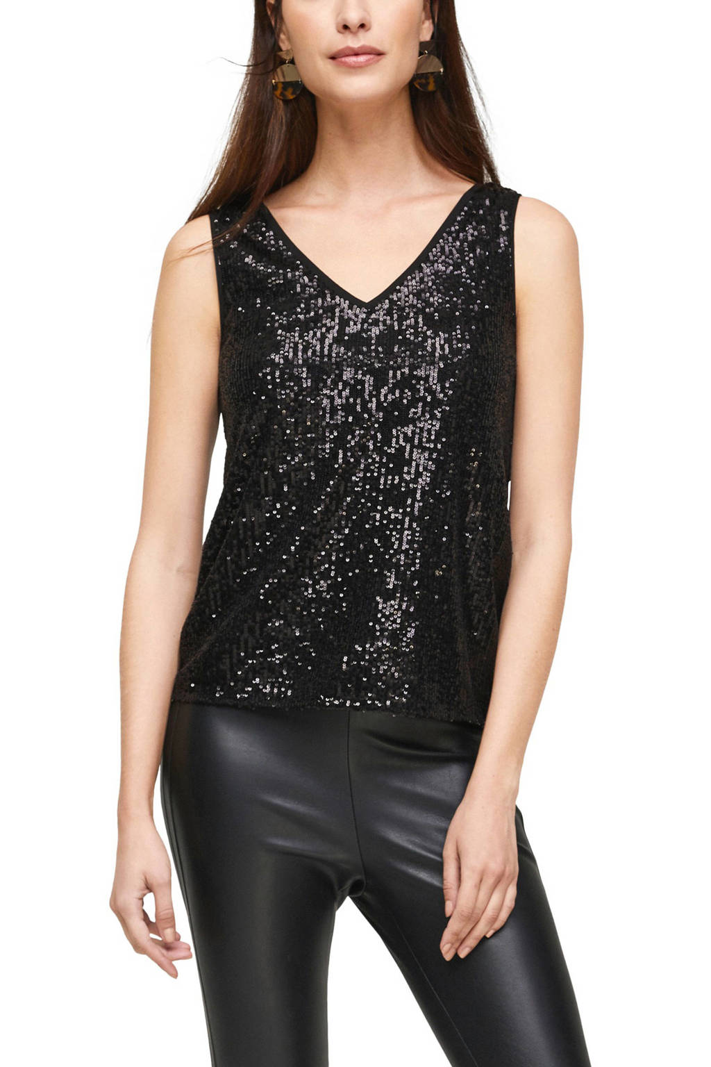 s.Oliver BLACK LABEL semi-transparante top met pailletten zwart, Zwart