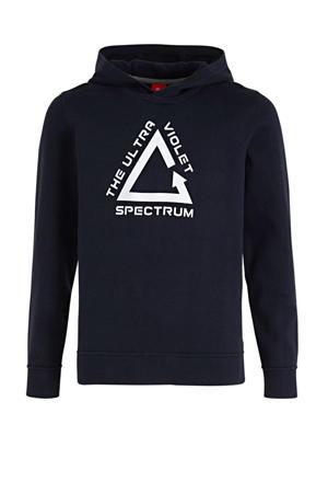 hoodie met printopdruk donkerblauw/wit