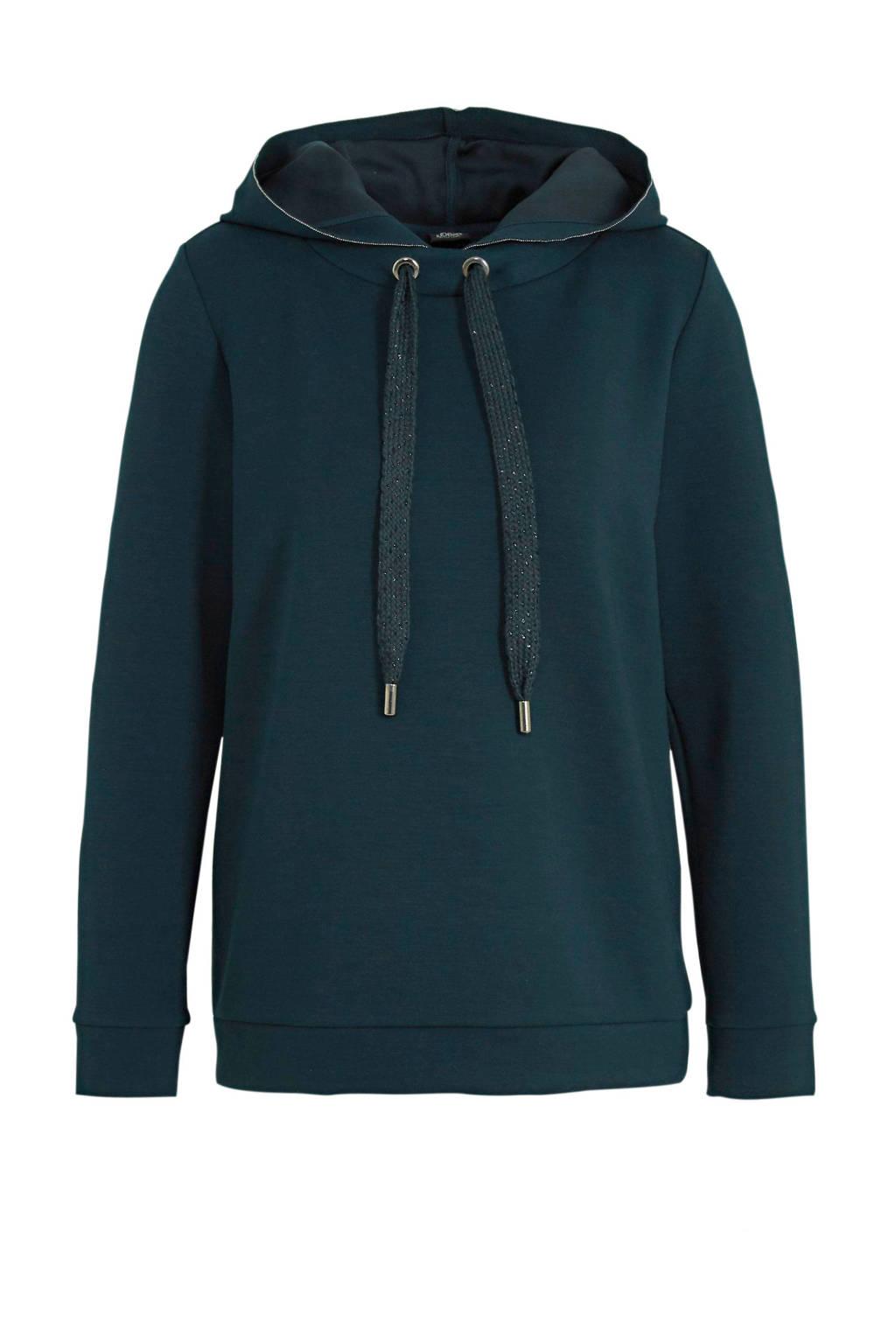 s.Oliver BLACK LABEL hoodie met glitters donkergroen/zilver, Donkergroen/zilver