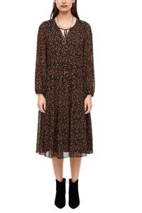 s.Oliver BLACK LABEL semi-transparante jurk met all over print en volant zwart/oranje, Zwart/oranje