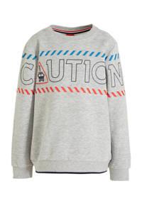 s.Oliver sweater met printopdruk grijs melange, Grijs melange