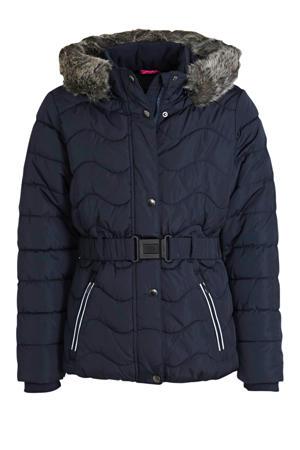 gewatteerde winterjas met ceintuur donkerblauw
