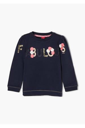 sweater met tekst en pailletten donkerblauw/roze/goud