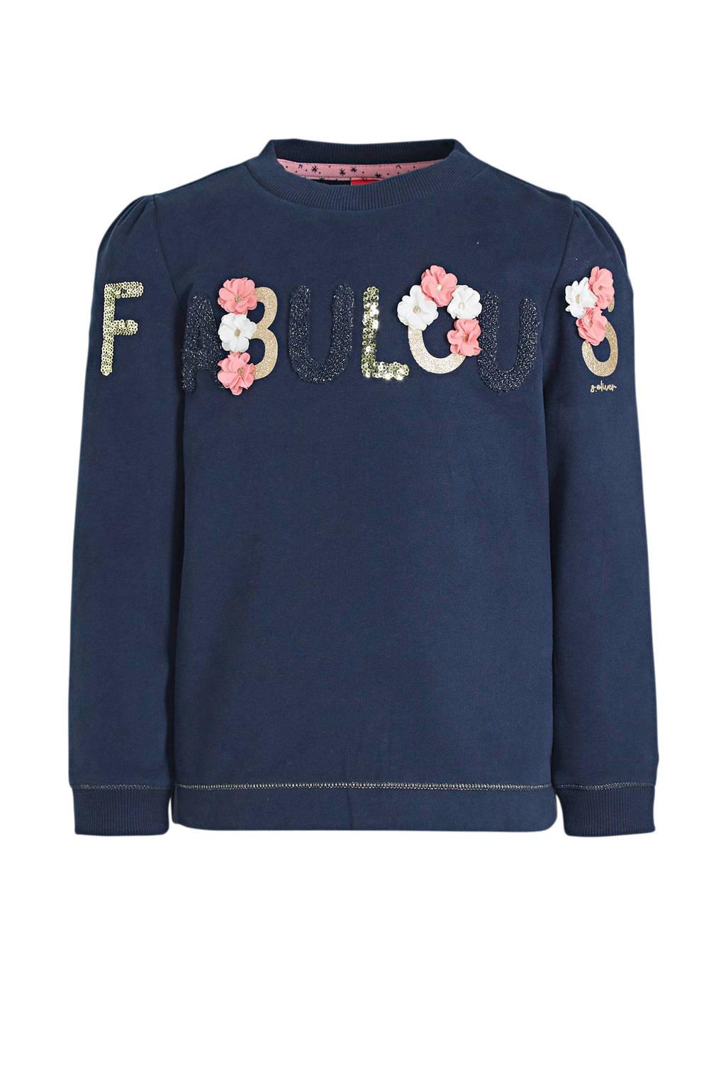 s.Oliver sweater met tekst en pailletten donkerblauw/roze/goud, Donkerblauw/roze/goud