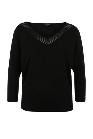 fijngebreide trui met mesh zwart