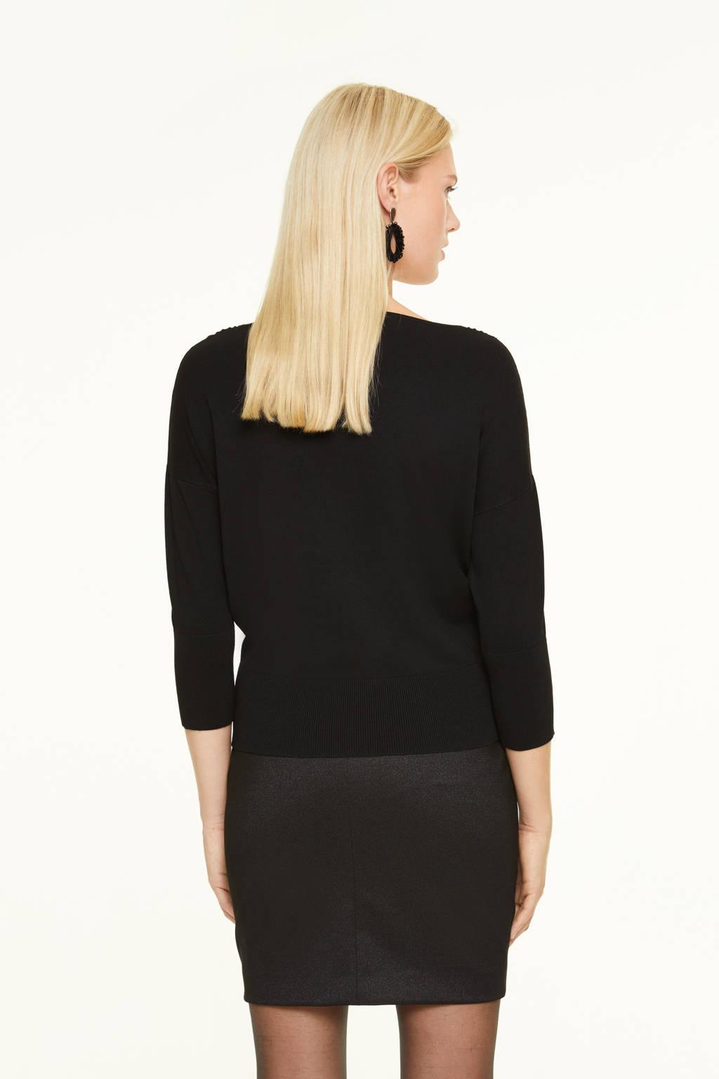 comma fijngebreide trui met mesh zwart, Zwart