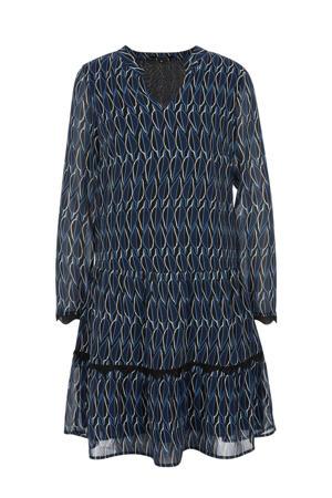 semi-transparante A-lijn jurk met all over print en plooien blauw/donkerblauw/wit