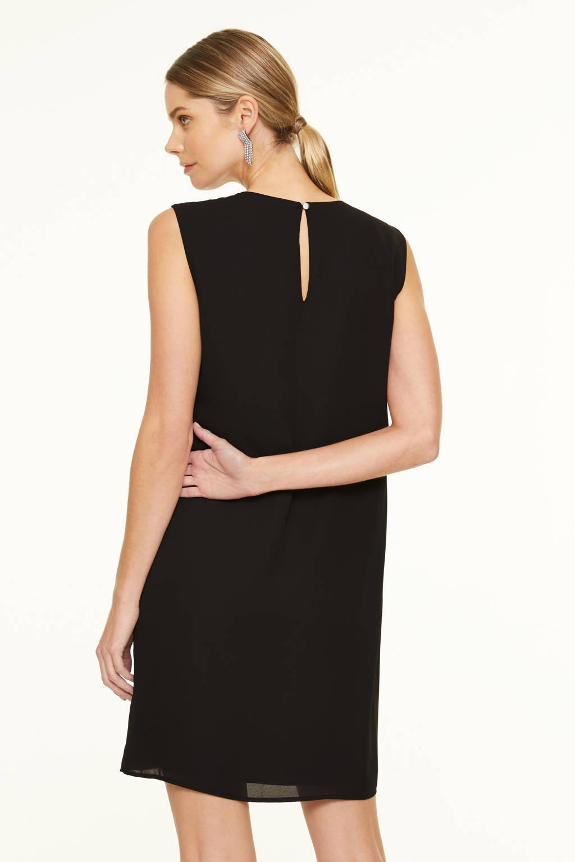 comma jurk met strass steentjes zwart, Zwart