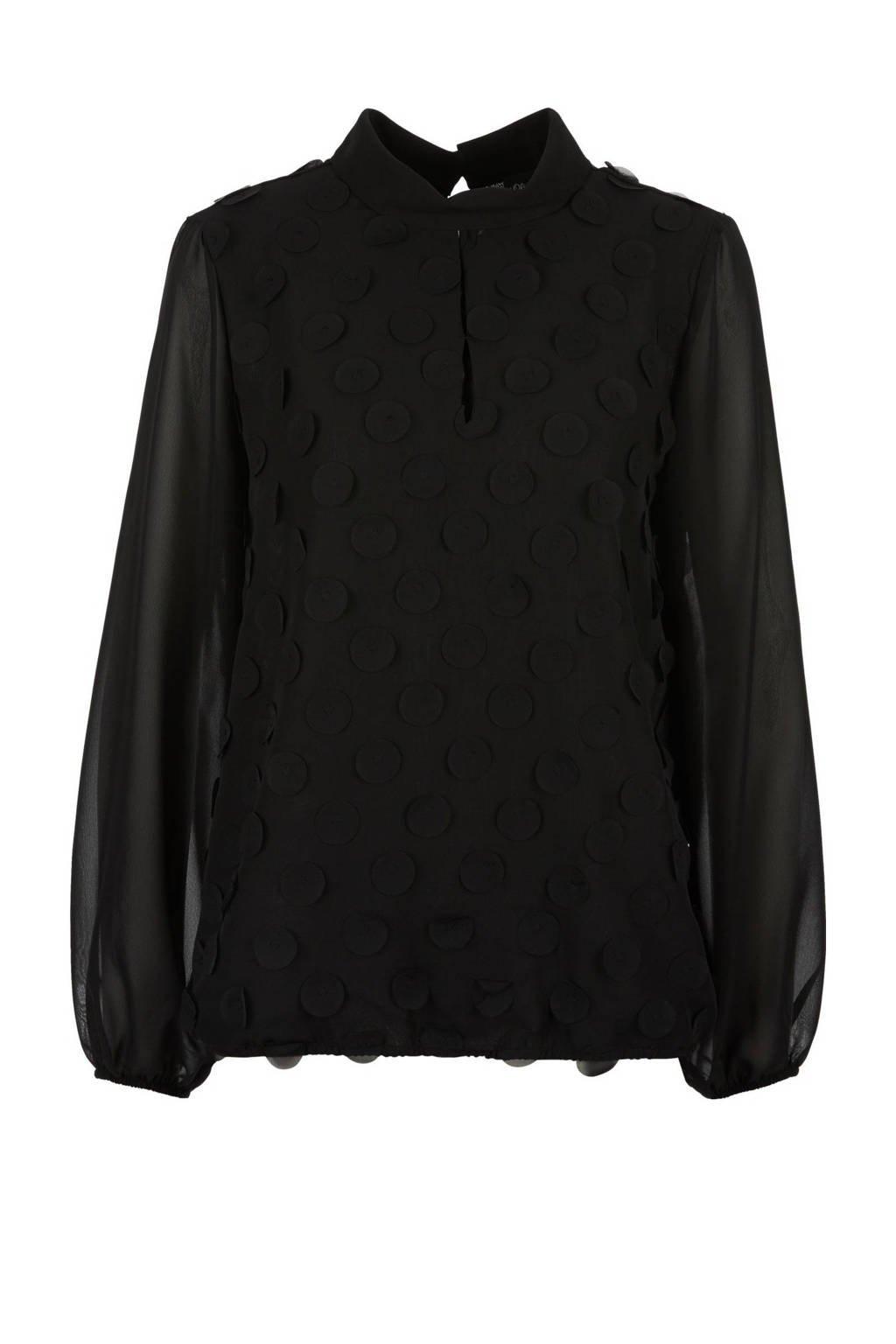s.Oliver BLACK LABEL semi-transparante top met open detail zwart, Zwart