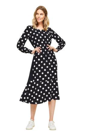 jurk met stippen en volant donkerblauw/wit
