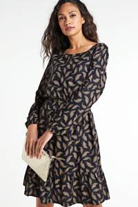 Re-Draft A-lijn jurk met all over print en plooien zwart/beige, Zwart/beige
