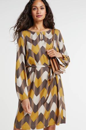 jurk met grafische print en open detail okergeel/bruin/wit