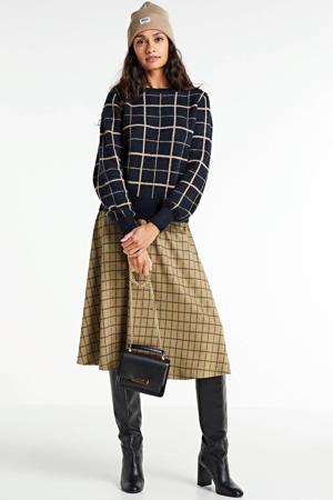 geruite gebreide trui zwart/beige