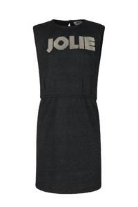 Jill & Mitch by Shoeby geribde jurk Fem met tekst en schoudervullingen zwart, Zwart