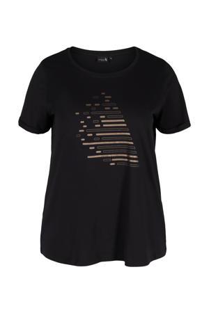 Plus Size sport T-shirt zwart/koper