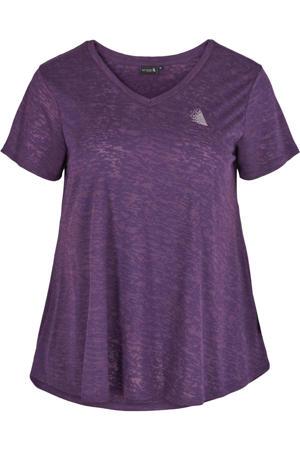 Plus Size sport T-shirt paars